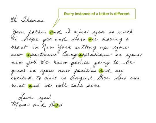 digital handwriting sample
