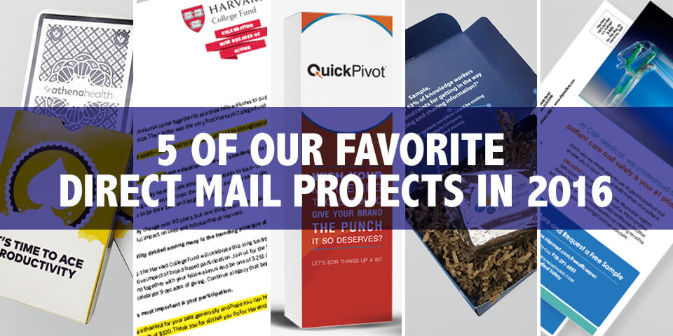 collage of 5 direct mail projects