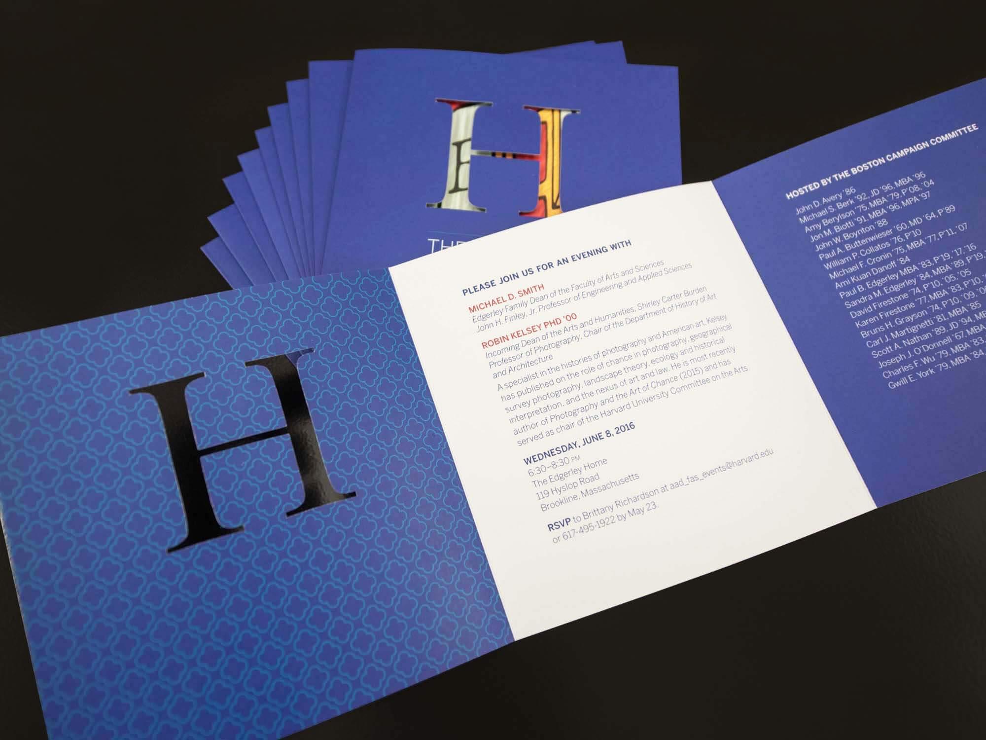 harvard university die-cut invitation