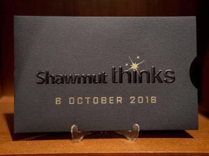 embossed event invitation with gold foil